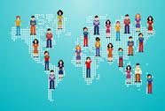 Global social media people network Stock Illustration