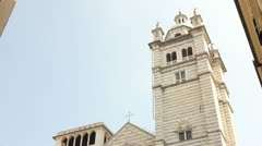 Cathedral of San Lorenzo, in Genoa Stock Footage