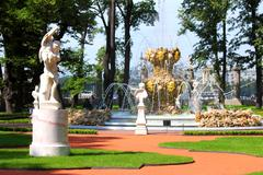 renovated summer garden park in st. petersburg - stock photo