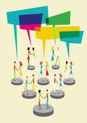social people balloon interaction - stock illustration