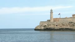 Morro Castle and Cuban Flag view with Blue Waters of the Sea and Verizon 01 HD Stock Footage