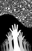 Social media network business Stock Illustration