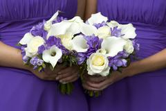 bridesmaids with wedding bouquets - stock photo