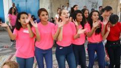 Upbeat modern Druze females dance Dabke - stock footage