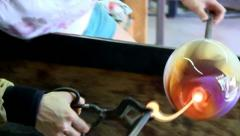 Glass artist teamwork; 3 - stock footage