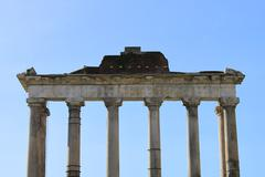Saturn temple in Rome - stock photo