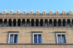 Facade of a medieval building Stock Photos