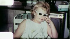 Woman Wearing Sunglasses 1960s Vintage Film Retro Film Home Movie 4833 Stock Footage
