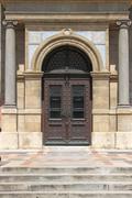 Renaissance door at St. Stephen basilica Stock Photos