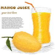 Mango fruit juice Stock Illustration