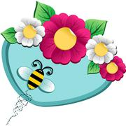 spring time flower and bee - stock illustration