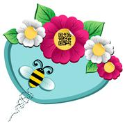 spring time flower and bee with qr code - stock illustration