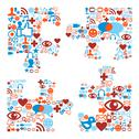 Jigsaw piece shape with media icons texture Stock Illustration