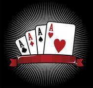 four aces. poker icon - stock illustration