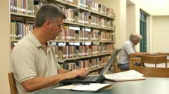 Mature Students Library Stock Footage