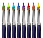 Aligned paint brushes with colors on the bristles Stock Illustration