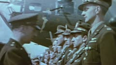WW2-ColorFootage - B-17 crew earning medals Stock Footage