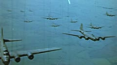 WW2-ColorFootage - B-17 bomber formation flight Stock Footage