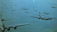Stock Video Footage of WW2-ColorFootage - B-17 bomber formation flight