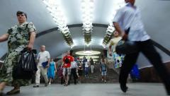 Subway. station. Crowds - stock footage