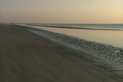 Early Morning View Across the Shore of the Beach - NTSC Stock Footage