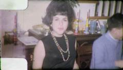 Pretty Brunette Teen Girl BIG HAIR 1970s (Vintage Film Retro Home Movie) 4842 Stock Footage