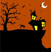 halloween cat on a scary background - stock illustration