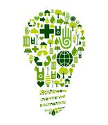 Green bulb with environmental icons Stock Illustration