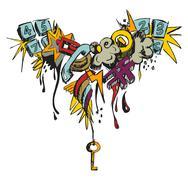 colorful grunge grafitti - stock illustration