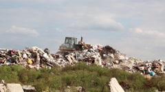 Bulldozer on landfill Stock Footage