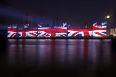 Union flag projection on the Houses of Parliament Stock Photos