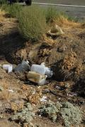 roadside dump - stock photo