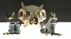 Tattoo Machines Skull Stock Footage