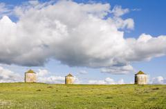three agriculture silos - stock photo
