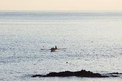 rowboat approaching in pico,  azores - stock photo