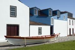 Facade of the whalers museum in lages do pico, azores Stock Photos