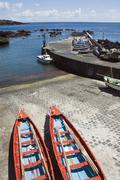 Small harbour of ribeiras in pico island, azores Stock Photos