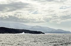 Volcanic coastline in  azores Stock Photos