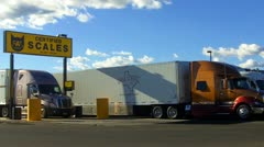 Semi Truck On Certified Scales At Truck Stop Stock Footage