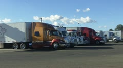 Semi Trucks Parked At Truck Stop - stock footage