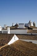 roofs of the village of monsaraz, alentejo, portugal - stock photo
