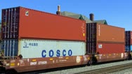 Shipping Containers On Moving Railroad Cars Stock Footage