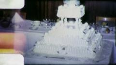 BRIDE GROOM Cut Wedding Cake 1960s Vintage Film Amateur Home Movie 4850 Stock Footage