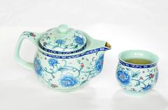 Chinese pottery teaset Stock Photos