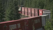Stock Video Footage of railroad, Morants curve container train long shot