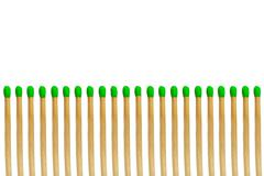 Green matchstick equal concept isolated on white background Stock Photos