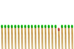 red matchstick loser concept isolated on white background - stock photo