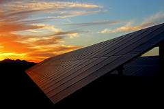 Solar Panel Vibrant Sunset Stock Photos