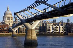 St. Paul's and the Millennium Bridge - stock photo