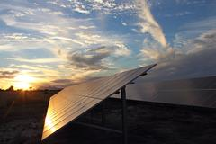 Solar Panel Sundown - stock photo